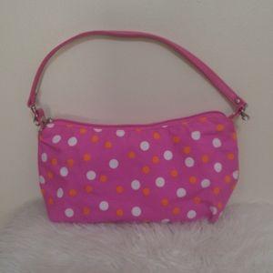 Pink, Orange, White Polka Dot Makeup/Travel Bag